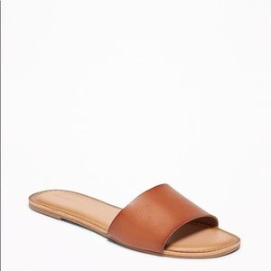 Brown tan Faux-Leather Slide Sandals